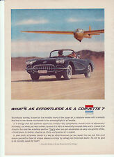 1958 CORVETTE ORIGINAL GM VETTE AD - WHAT'S AS EFFORTLESS - FREE SHIPPING