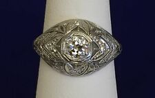 Antique Art Deco Filigree 1920s Platinum .32TCW  Diamond Engagement Ring