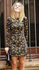 ZARA Black Yellow Floral Printed Shift Dress Large L Pattern