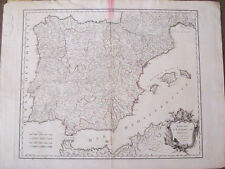 España.Robert Vaugondy.Mapa original 1750