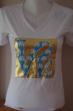 V-NECK - OM 'LOVE' FASHION  T-SHIRT - LARGE - WHITE/Gold - Olympique Marseille