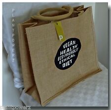 FREE SHIPPING 2 quality bags jute tote grocery eco vegan designer gift shop sale