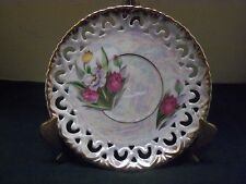 """Vtg Royal Sealy China 6"""" Reticulated Floral Dsgn Saucer Pie Plate~Gold Rim~Japan"""