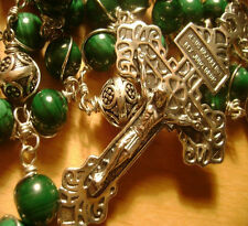 UNDOUBTED MALACHITE BEADS Wire Wrapped 925 STERLING SILVER ROSARY CROSS NECKLACE