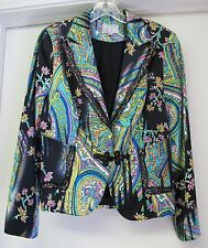 ALBERTO MAKALI SILK BEADED SEQUIN LACE JACKET- 8 BLACK BLUE PINK YELLOW