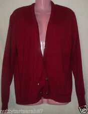 """Vintage Red Wine Cardigan 70's Gold X Over Button Size L Chest 44-46"""" EX COND"""