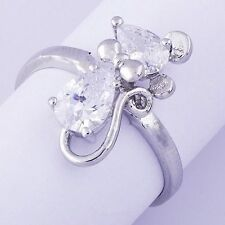 Endearing Womens Girls Rhinestone Silver Mouse Ring 14K White Gold Plated Size8