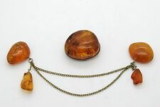 Vintage  Baltic  Amber Jewelry Brooch, 2psc in a lot, 18 gr