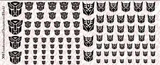 Decals: Transformer and Decepticons logos - Waterslide Decals Black