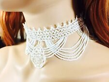 NEW WOMEN WHITE SILVER BEADED NATIVE STYLE  WEDDING CHOKER/BIB FASHION NECKLACE