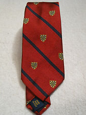 NWT $125 POLO Ralph Lauren 100% Silk Shield Tie Red/Navy