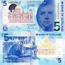 SCOTLAND 5 Pound Banknote World Money UNC Currency Pick p-New 2016 Polymer BOS