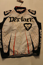 New Declare Mens X-Large Full Zipper White Sleeveless Pockets Cycling Jersey NWT