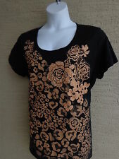 Just My Size Glitzy Graphic Scoop Neck S/S Cotton Tee Shirt  1X Black, Gold