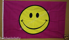 3'x5' HAPPY SMILEY FACE PINK FLAG OUTDOOR BANNER PARTY FESTIVE CUTE HUGE NEW 3X5