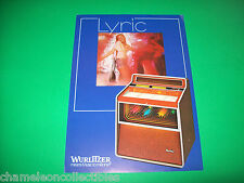 LYRIC By WURLITZER 1979 ORIGINAL JUKEBOX PHONOGRAPH SALES FLYER BROCHURE