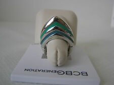 BCBGeneration Slver Tone Turquoise Enamel Modified Pyramid Ring, Adjustable