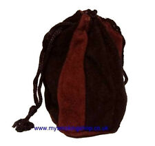 Mysmokingshop Black and Brown Velour Leather Drawstring Pipe Tobacco Pouch Bag