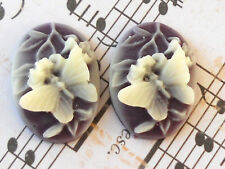 #741 Vintage Cabochon Butterfly Oval Cameo Flowers Amethyst  25x18mm Raised NOS
