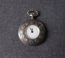 VINTAGE 70'S NICE DESIGN SILVER POCKET WATCH SHAPED PENDANT SWISS MADE WORKING