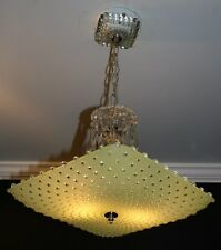 Antique lime green glass art deco custom light fixture ceiling chandelier square