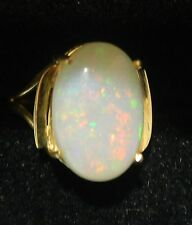 Elegant Antique 18k Yellow Gold Large Opal Cabochon Ring. 2.7 Grams. 3.5 carats
