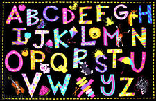 """4'3""""x6'6""""  Area Rug Educational Kid A to Z Letters  ABC  School Time New     5x7"""