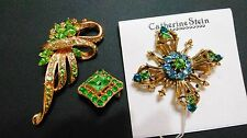 Vintage Lot Of 3 Green Rhinestone Brooches Silver-Tone