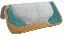 "Showman 32""x31"" Saddle Pad w/ TEAL Filigree Print & Argentina Cow Leather Trim!!"