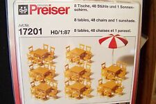 HO Preiser UNPAINTED KIT with  8- Tables / 48- Chairs / 1- Umbrella 17201