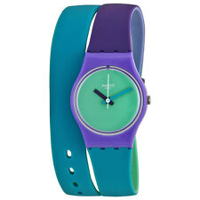 Swatch Fun in Blue Green Dial Blue and Purple Silicone (Double Wrap) Ladies