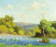 "Art Print Texas Bluebonnets Oil painting Picture Printed on canvas 16""X20"" P384"