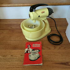 Retro Sunbeam Mixmaster Yellow Fully Functional with Bowls, Beaters, Book