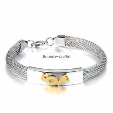 Womens Stainless Steel 10mm Mesh Bracelet Golden Tone Love Wristband Silver Tone