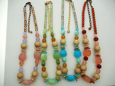 """4 Czech glass and wood bead necklaces 16 inch long, lobster w/3"""" adjust. zz 150"""