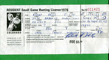 COLORADO 1976 Vintage Fishing & Small Game Hunting License/DUCK STAMP RW43 - 112