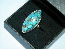 LOT 484 SUPER LARGE SKY COPPER TURQUOISE SOLID STERLING SILVER RING SIZE I 1/2