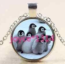 Vintage Cute penguins Cabochon Tibetan silver Glass Chain Pendant Necklace #2536