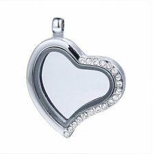 Living Memory Floating Charm Crystal Heart Magnetic Locket Pendant For Necklace