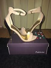 LADIES STILETTO HEEL SHOES-CREAM SUEDE-GOLD HEEL-ANKLE STRAP-SIZE 6