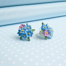FORGET ME NOT posy EARRINGS flower jewellery Made in Wales UK Handpainted