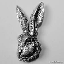 Hare Head Pewter Pin Brooch - British Hand Crafted - Rabbit, Jackrabbit, Hunting
