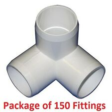 "1"" Furniture Grade 3-Way Corner Elbow PVC Fitting - 150 Pack"