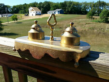 Solid Brass Art Deco Double Ink Well Pen Holder Groove ~ Etched Flowers