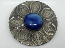 Vintage Jewellery Blue Ruskin Pewter Arts And Crafts Design Brooch/Pin