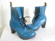 Dr. Martens Women Darcie Diva 8 Eye Heel Blue Teal Floral Boots US 8 EU 39 UK 6
