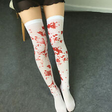 1 Pair Blood Stained Hold Up Stockings White Socks Halloween Zombie Fancy Set
