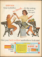 1960's Vintage ad for Baggies Sandwich Bags`Photo 60's Fashion, School  (071116)