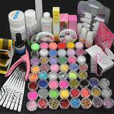 New Pro Acrylic Liquid Nail Art Brush Glue Glitter Powder UV Gel Tool  Kit Tips