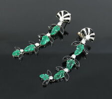 Vintage 1.10ct Diamond 11.0ct Emerald & Carved Onyx 18K White Gold Drop Earrings